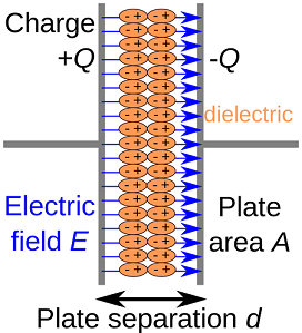 Dielectric material between the plates of a parallel-plate capacitor is polarized by an electric field and reduces the potential difference between the plates [4].