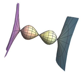 The function \(y = x^3 - x\) rotated about the \(x\)-axis