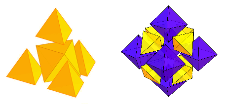 Construction of a larger tetrahedron and octahedron from unit tetrahedra and octahedra