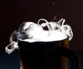 Liquid carbon dioxide, also known as dry ice, undergoes sublimation. It is commonly used as a refrigerant. [2]