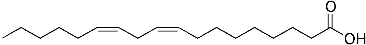 line structure of linoleic acid. Note that the unsaturated bonds are all in the <em>cis</em> conformation.