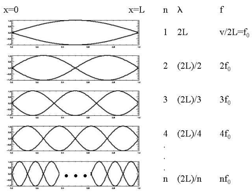Standing wave patterns with increasing \(n\) and the corresponding wavelengths and frequencies [3].