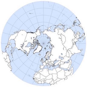 Each of these concentric rings of latitude represents a different azimuthal position measured from the geographic North pole.