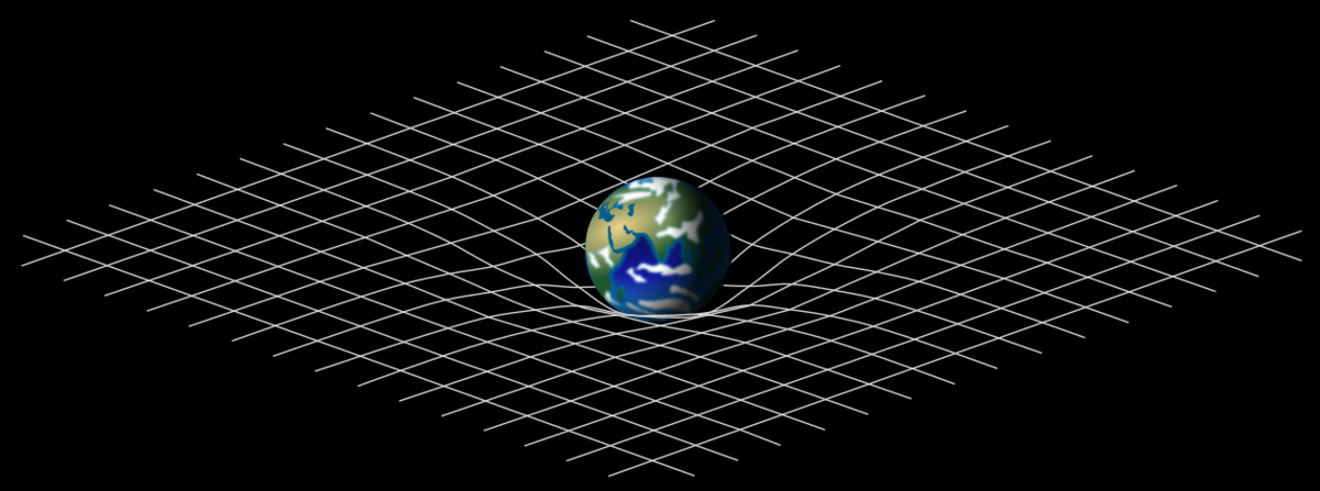Planet curving the nearby spacetime, depicted as the bending of a two-dimensional mesh .