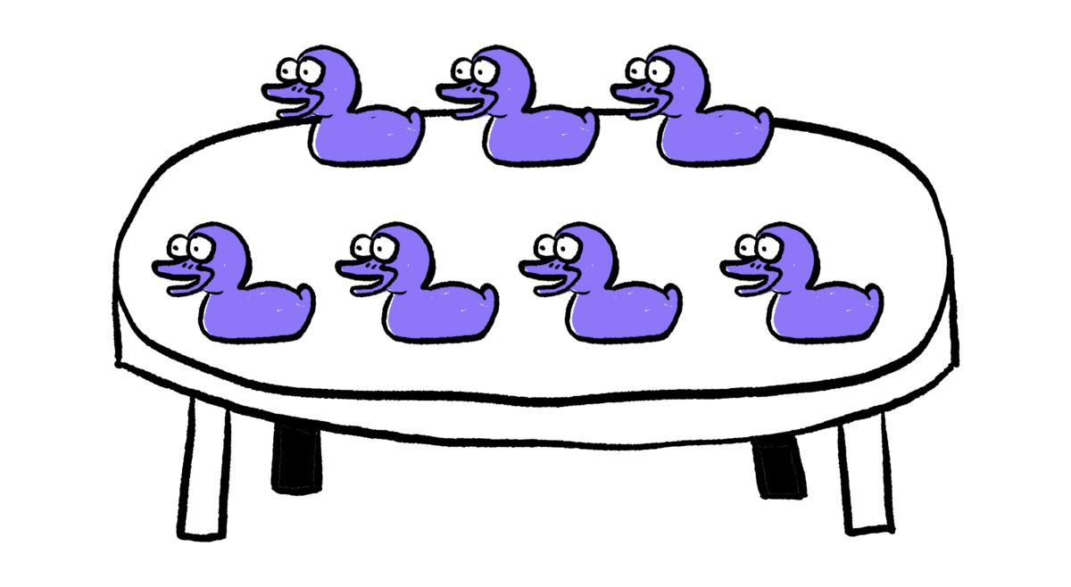 There are seven ducks. Seven.