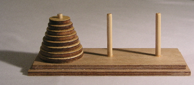 A Tower of Hanoi puzzle with 8 disks