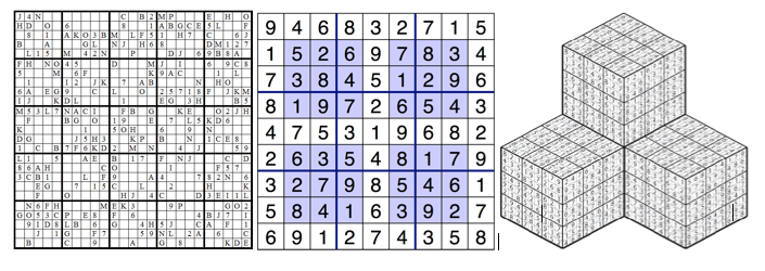 "Variations include larger grids [7], ""hypersudoku"" with extra boxes within the traditional grid [8], or 3-D cubes [9]."