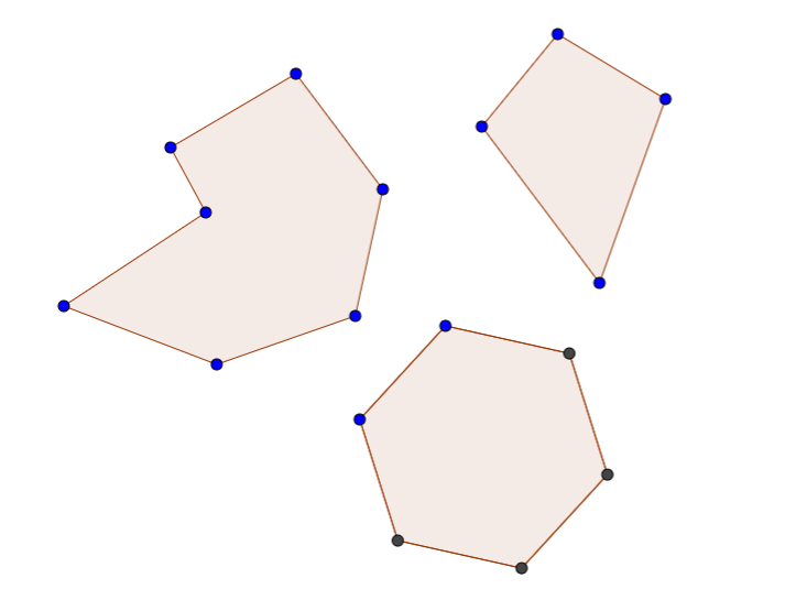Top to bottom, left to right: random polygon, kite, hexagon