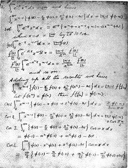 Original notes of Ramanujan
