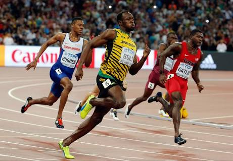World's fastest human, Usain Bolt in full swing[1]