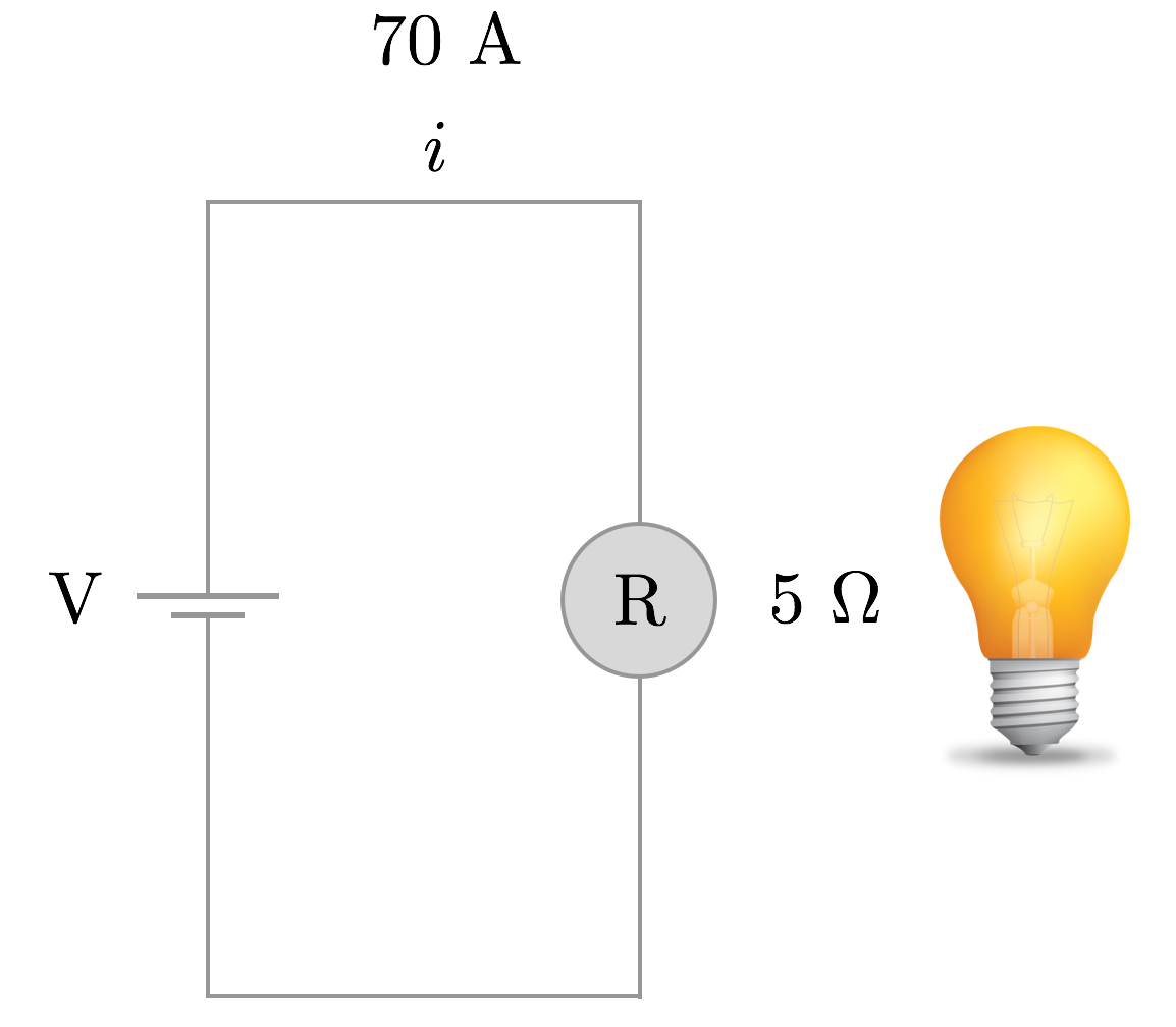 Simple Circuits Brilliant Math Science Wiki Wiring Lights In Series Or Parallel Diagram Further Suppose A Floor Lamp Which Is Rated At Resistance Of 5 Requires Current 70 Amps To Properly Function What Must Be The Difference Voltage