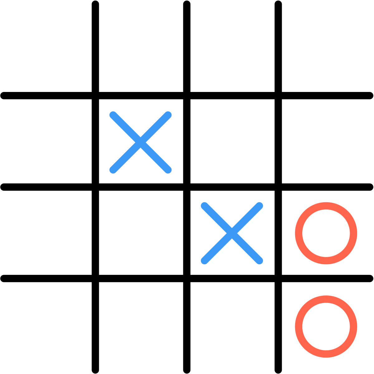 In this example, Xavier begins by placing 2 Xs along a diagonal.  Then, Olivia plays two Os along the right column.