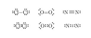 Lewis dot single, double, and triple bonds