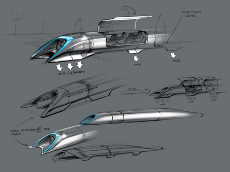 "Concept art of the Hyperloop pod system taken from Musk's ""alpha"" proposal of August 2013 [1]."