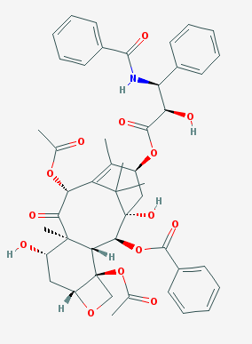 Paclitaxel  has the molecular formula \(C_{47}H_{51}NO_{14}\) and a molecular weight of 854 g/mol