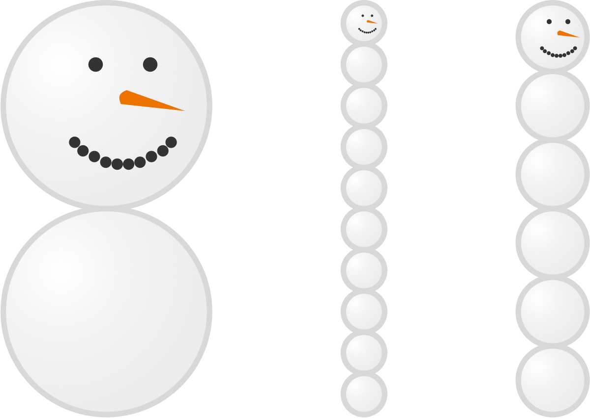 If they all have the same volume of snow, which snowman is tallest?