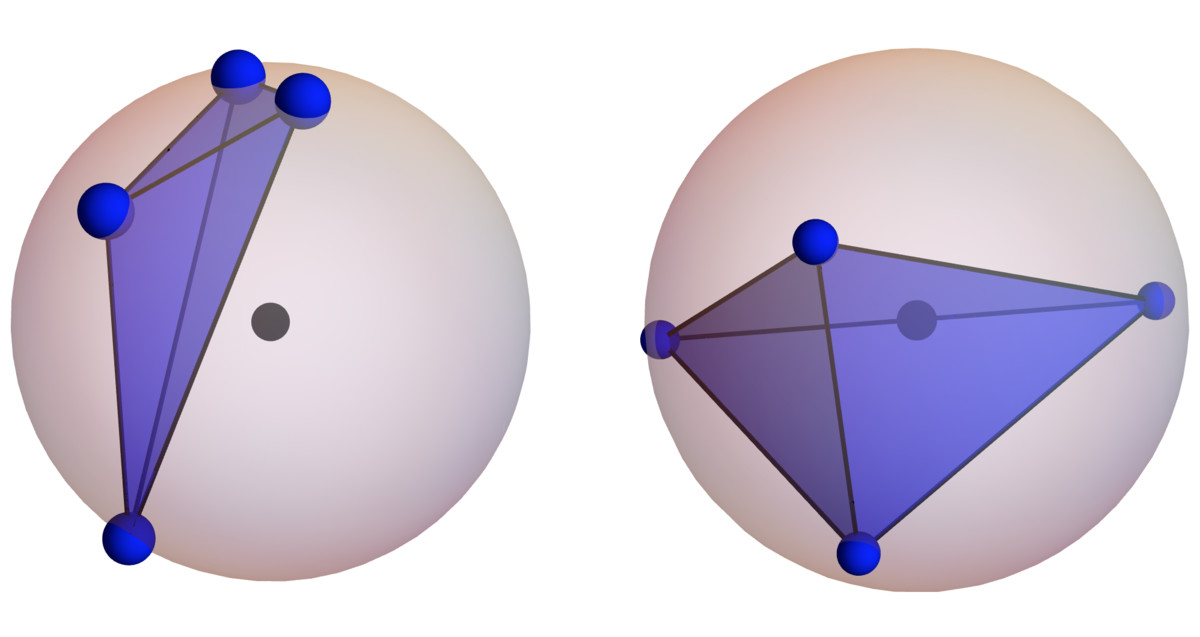 On the left, the center of the sphere <strong>isn't</strong> inside the random tetrahedron. On the right, it <strong>is</strong>.