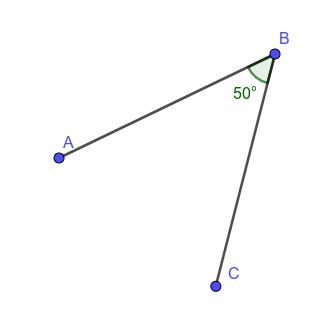 \(\measuredangle ABC= 50^\circ, \measuredangle CBA= -50^\circ\)
