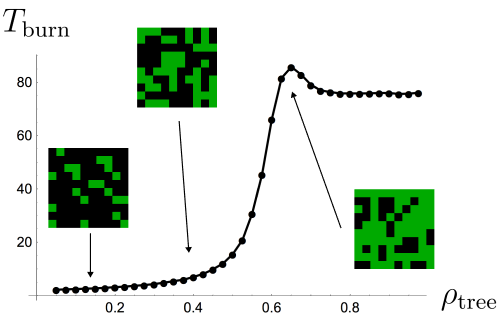 Fig 4. Fire burn time as a function of forest density.