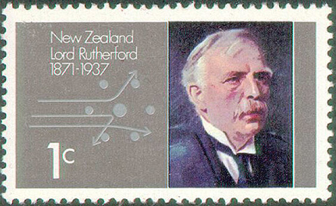 Ernest Rutherford on a stamp.