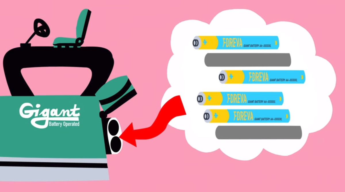 The device accepts 6 batteries, although only 4 need to be working. Image via TED-Ed and Artrake Studio.