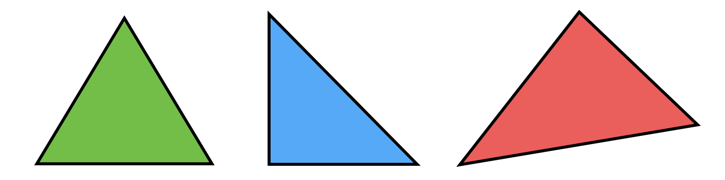 An equilateral triangle, a right triangle, and a scalene triangle
