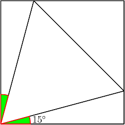 Both green angles have measure \(15^{\circ}\)