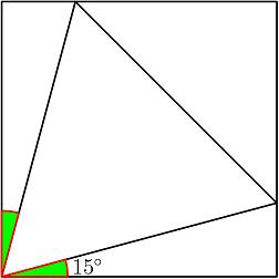 Both green angles have measure \(15^{\circ}\)