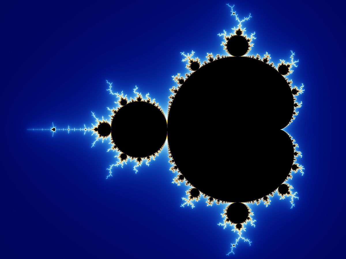 The fractal known as the Mandlebrot set. The complex quadratic map converges wherever the plot is black, and diverges at a rate according to the intensity of color elsewhere. By Wolfgang Beyer, CC BY-SA 3.0, https://commons.wikimedia.org/w/index.php?curid=321973