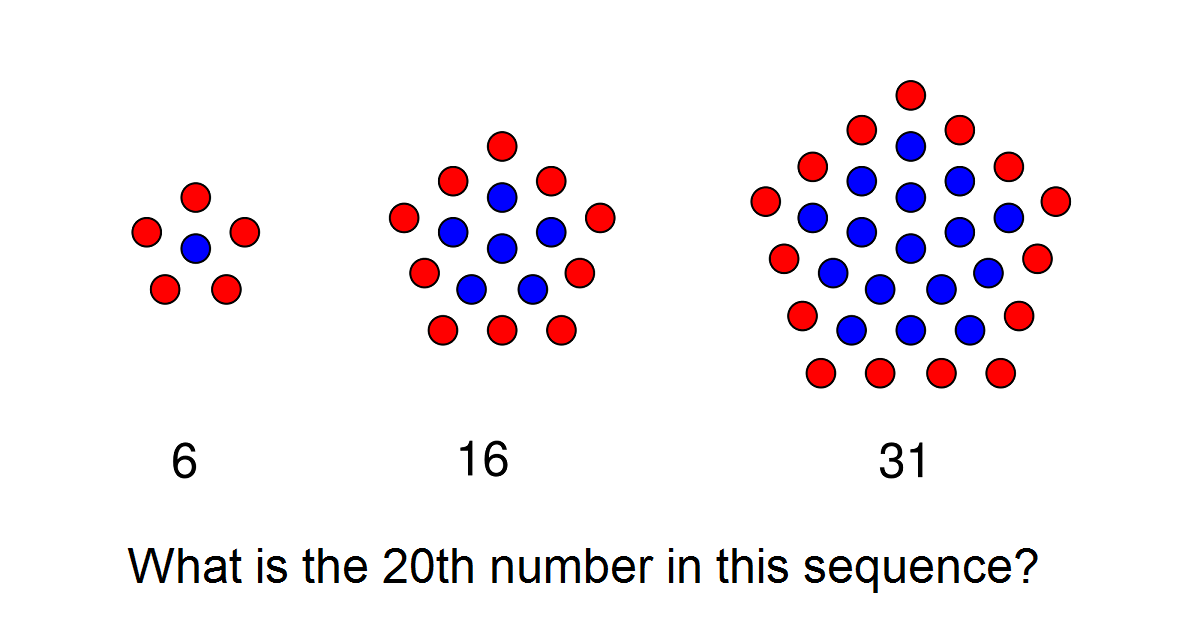 These numbers are called centered pentagonal numbers. A finite series can be used to find the answer.