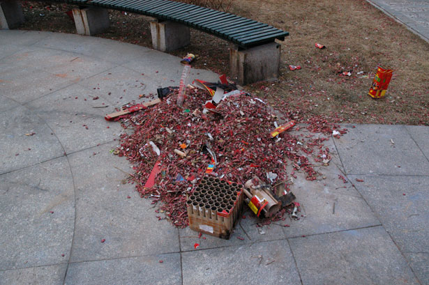 The remnants of a fireworks display [3]