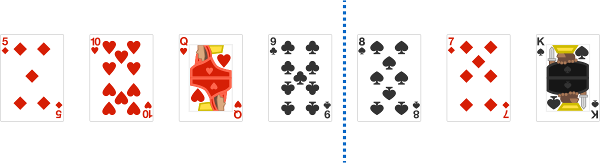 There is 1 \(\color{black}{\text{black}}\) card in the left part and 1 \(\color{red}{\text{red}}\) card in the right part