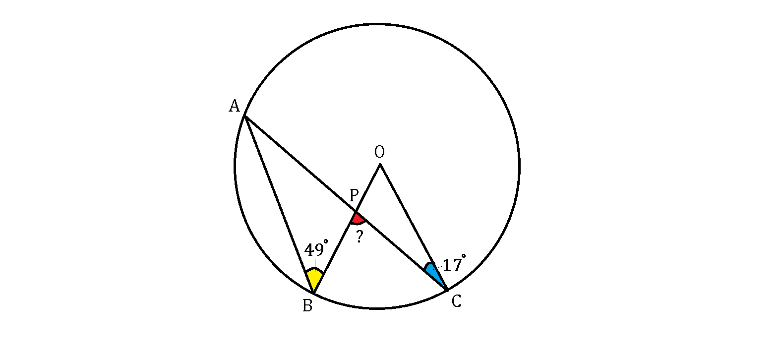 Circles brilliant math science wiki the points abc a b c are on a circumference where o o is the center and p p is the intersection point of ac a c and hexwebz Gallery