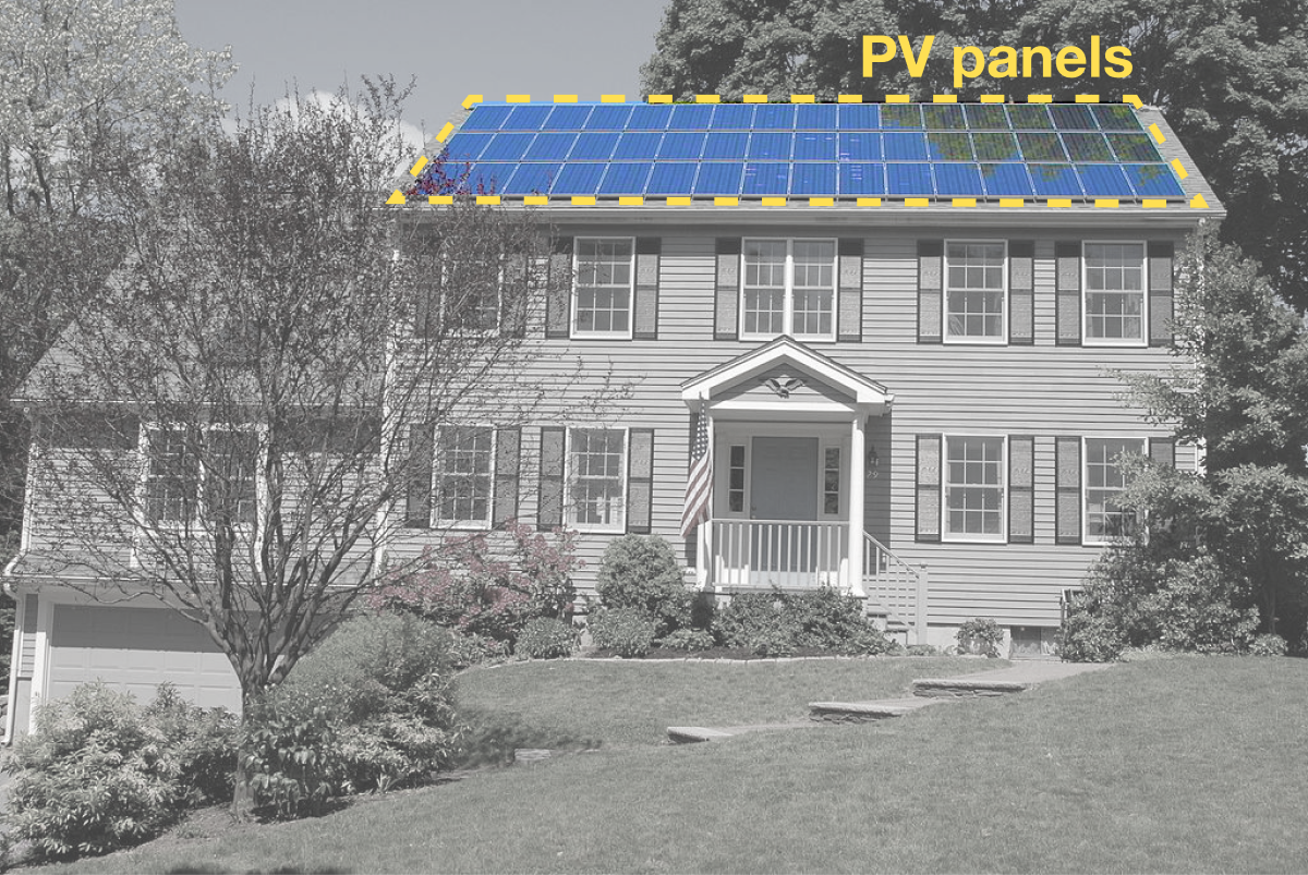 PV panels on the roof of a home. Photo by Gray Watson