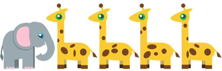 1:4 ratio of elephants to giraffes.
