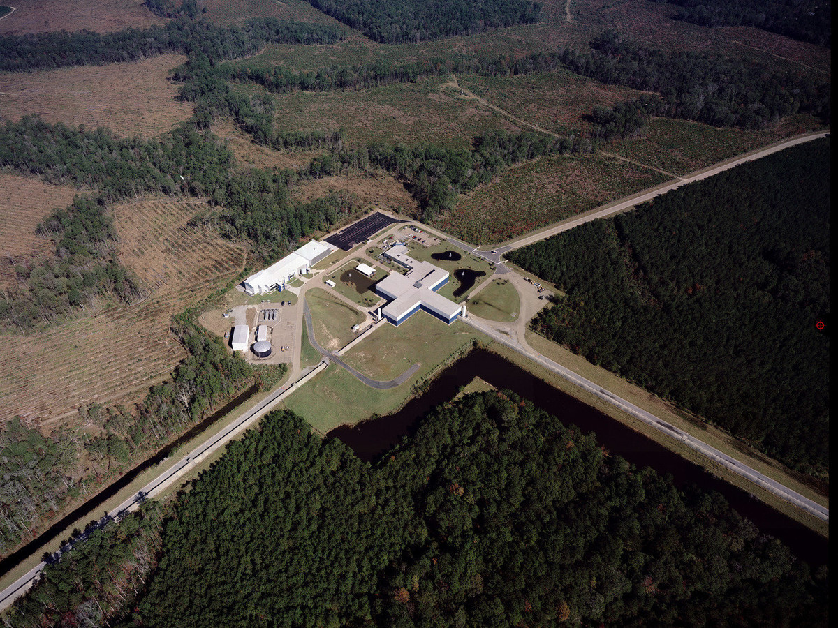 An aerial view of one of the Advanced LIGO detectors.