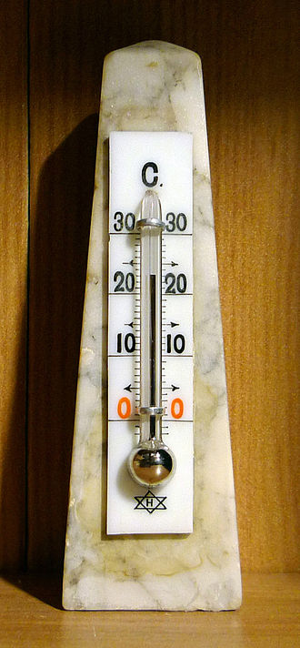 Mercury thermometer (mercury-in-glass thermometer) for measurement of room temperature. Daniel Fahrenheit's application of mercury and a standardized temperature scale for liquid-in-glass thermometers ushered in a new era of accuracy and precision in thermometry. From the early 1710s until the introduction of electronic devices in the 1960s, mercury-in-glass thermometers were the world's most reliable and accurate thermometers, accounting for their widespread use.\(^{[1]}\)