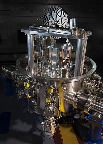 Kibble balance at National institute of Standards and Technology (NIST). Devices like this can weigh objects using the new definition of the kilogram in terms of the Planck constant.